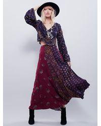 Free People | Purple Womens Amazing Technicolor Printed Trumpet Skirt | Lyst