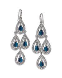 Carolee - Metallic Silver-tone Pave Pear Chandelier Earrings - Lyst