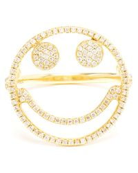Rosa De La Cruz - Metallic Smiley Face Diamond Ring - Lyst
