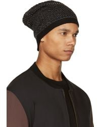 T By Alexander Wang Gray Charcoal And Black Chenille Tuck Stitch Beanie for men