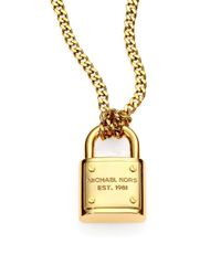 Michael Kors Metallic Logo Padlock Chain Link Necklace