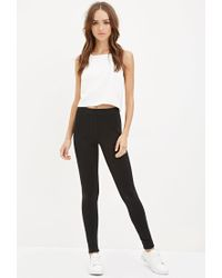 Forever 21 | Black Topstitched Fleece Leggings | Lyst
