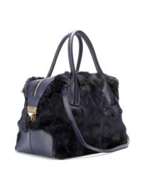 Tod's Blue D-Styling Bauletto Small Leather And Calf Hair Tote