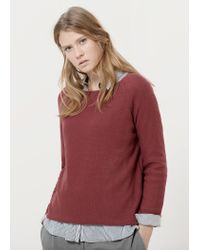 Violeta by Mango | Red Ribbed Cotton-blend Sweater | Lyst