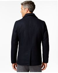 Michael Kors | Black Michael Wool-blend Peacoat for Men | Lyst