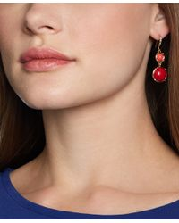 Brooks Brothers - Red Coral Stone Doubledrop Earrings - Lyst