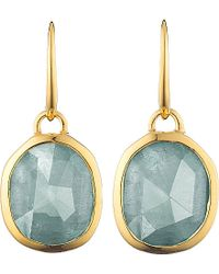 Monica Vinader | Metallic Siren 18ct Gold-plated Wire Earrings With Aquamarine | Lyst