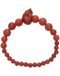 Alexander McQueen | Purple Burgundy Beaded Skull Bracelet for Men | Lyst