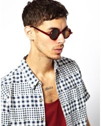 ASOS - Red Chunky Round Sunglasses for Men - Lyst