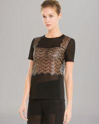 Sandro Black Top Etoile Short Sleeve Lace