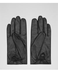 Reiss - Black Liora Embellished Leather Gloves - Lyst
