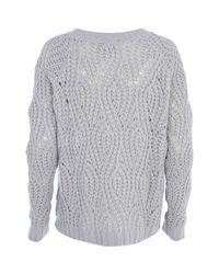 River Island Gray Light Grey Open Knit Jumper for men