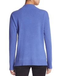 Lord & Taylor Blue Cashmere Cowlneck Sweater