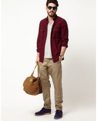Denham - Red Shirt Long Sleeve Check for Men - Lyst