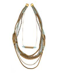 Serefina - Beaded Layer Set Necklace Bronzeblue - Lyst