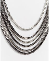 Lipsy - Metallic Fleur East By Multirow Box Chain Necklace - Lyst