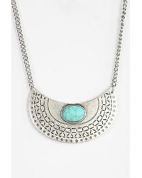Urban Outfitters Metallic In Half Stone Pendant Necklace