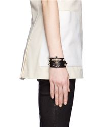 Givenchy | Metallic Obsedia Stud Double Wrap Leather Bracelet | Lyst