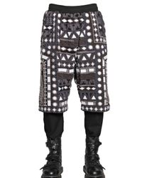 KTZ Gray Embellished Cotton Terrycloth Shorts for men