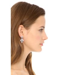 Deepa Gurnani White Crystal Petal Earrings Ivory