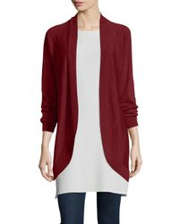 Eileen Fisher | Red Merino Jersey Oval Cardigan | Lyst