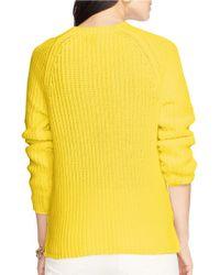 Lauren by Ralph Lauren Yellow Plus Cotton Raglan Sweater