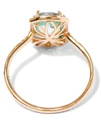 Suzanne Kalan Metallic Gold Barrel Green Envy Topaz Ring
