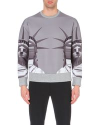 Neil Barrett - Gray Statue Of Liberty-print Neoprene Sweatshirt, Men's, Size: M, Grey for Men - Lyst