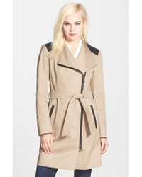 Mackage | Natural Leather Trim Asymmetrical Zip Trench Coat | Lyst