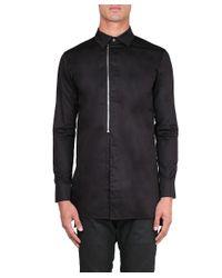 D.GNAK - Black Cotton Shirt With Zip for Men - Lyst
