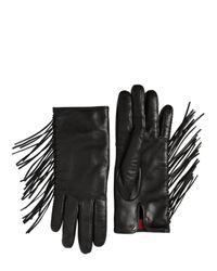 Valentino Black Fringed Nappa Leather Gloves