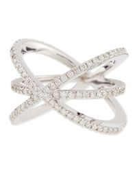 Roberto Coin | Metallic 18k White Gold Diamond Double-crisscross Ring | Lyst