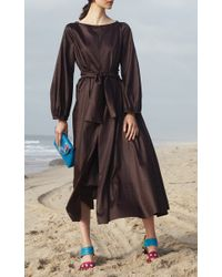 Cynthia Rowley - Brown Cotton Sateen Belted Midi Dress - Lyst