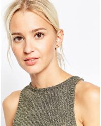 ASOS - Metallic Gold Plated Sterling Silver Pearl Climber Cuff & Stud Earring Pack - Lyst