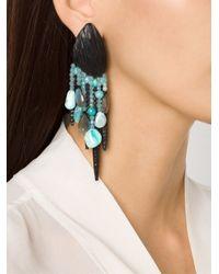 Monies Blue Chandelier Clip On Earrings