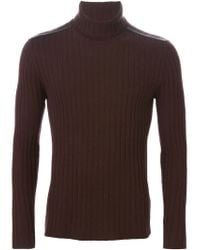 John Varvatos - Brown Ribbed Turtle Neck Sweater for Men - Lyst