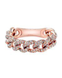 Anne Sisteron Pink 14kt Rose Gold Diamond Baguette Paris Ring