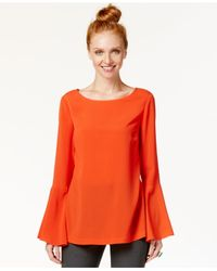 Eci Orange Bell-sleeve Top