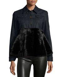 Co. - Blue A-Line Mink-Fur and Denim Jacket - Lyst
