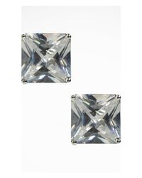 Express | Metallic Large Cubic Zirconia Stud Earrings | Lyst