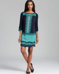 Adrianna Papell | Multicolor Placement Print Tunic Dress | Lyst