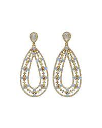 Bavna - Metallic Moonstone & Multicolor Diamond Pear Earrings - Lyst