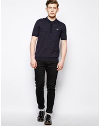 Fred Perry Blue Polo in Knit with Micro Dot for men