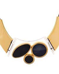 Marni | Brown Tan Plexi Circle Leather Bib Necklace | Lyst