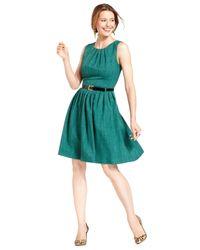 Ellen Tracy Green Sleeveless Belted Pleated Dress