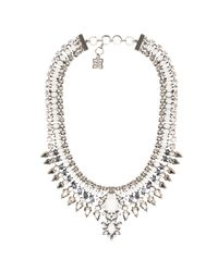 BCBGMAXAZRIA - Natural Stone Spike Necklace in Metallic Silver - Lyst