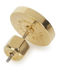 Marc By Marc Jacobs | Metallic Cream Logo Disc Stud Earrings | Lyst