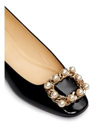 kate spade new york Black Nolina Pearl Chain Buckle Patent Leather Flats