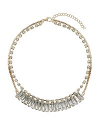 Mikey | Metallic Multi Baugette Linked Chain Crystal Neck | Lyst
