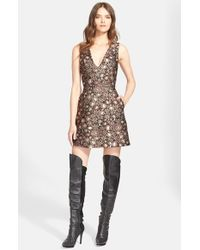 Alice + Olivia - 'Pacey' V-Neck Metallic Brocade Dress - Lyst